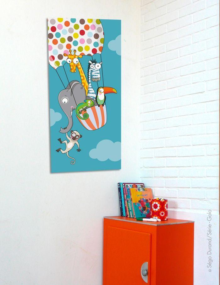 tableau un tour en ballon 35 x 76 cm deco bebe deco b b dessin et enfant. Black Bedroom Furniture Sets. Home Design Ideas