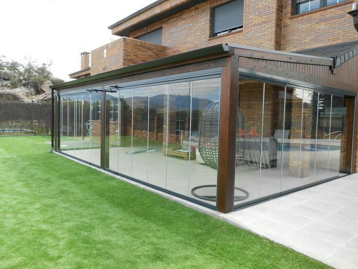 Outdoor pergola blind cafe blinds merendero en 2019 - Porches de aluminio y cristal ...