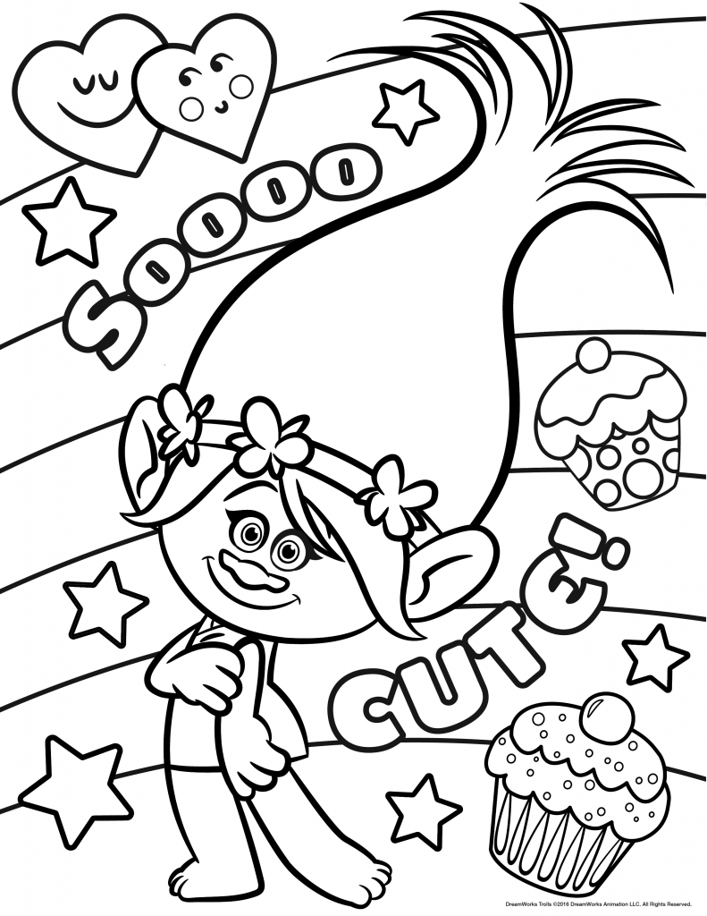 Trolls movie coloring pages layla poppy coloring page free