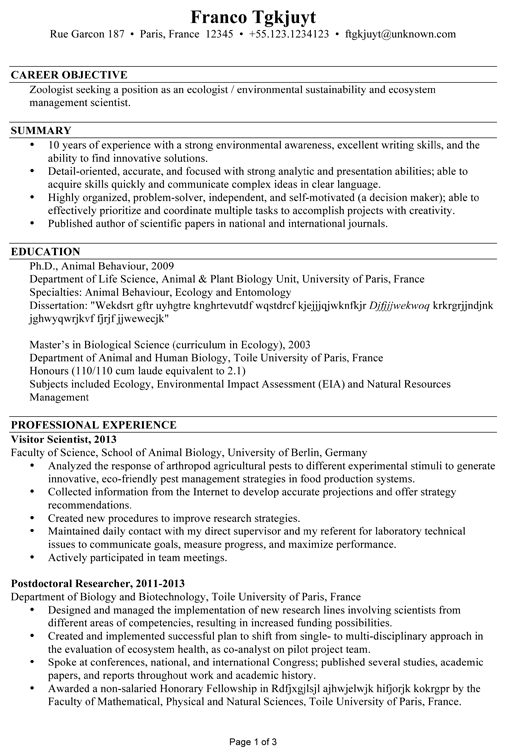 cv template zoology resume examples, examples accountant objective simple sample for job application skills section of
