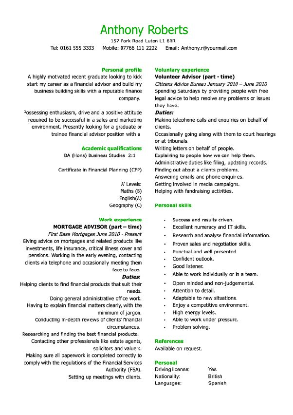 graduate financial advisor CV Resume   Jobs Pinterest - sample resume personal profile