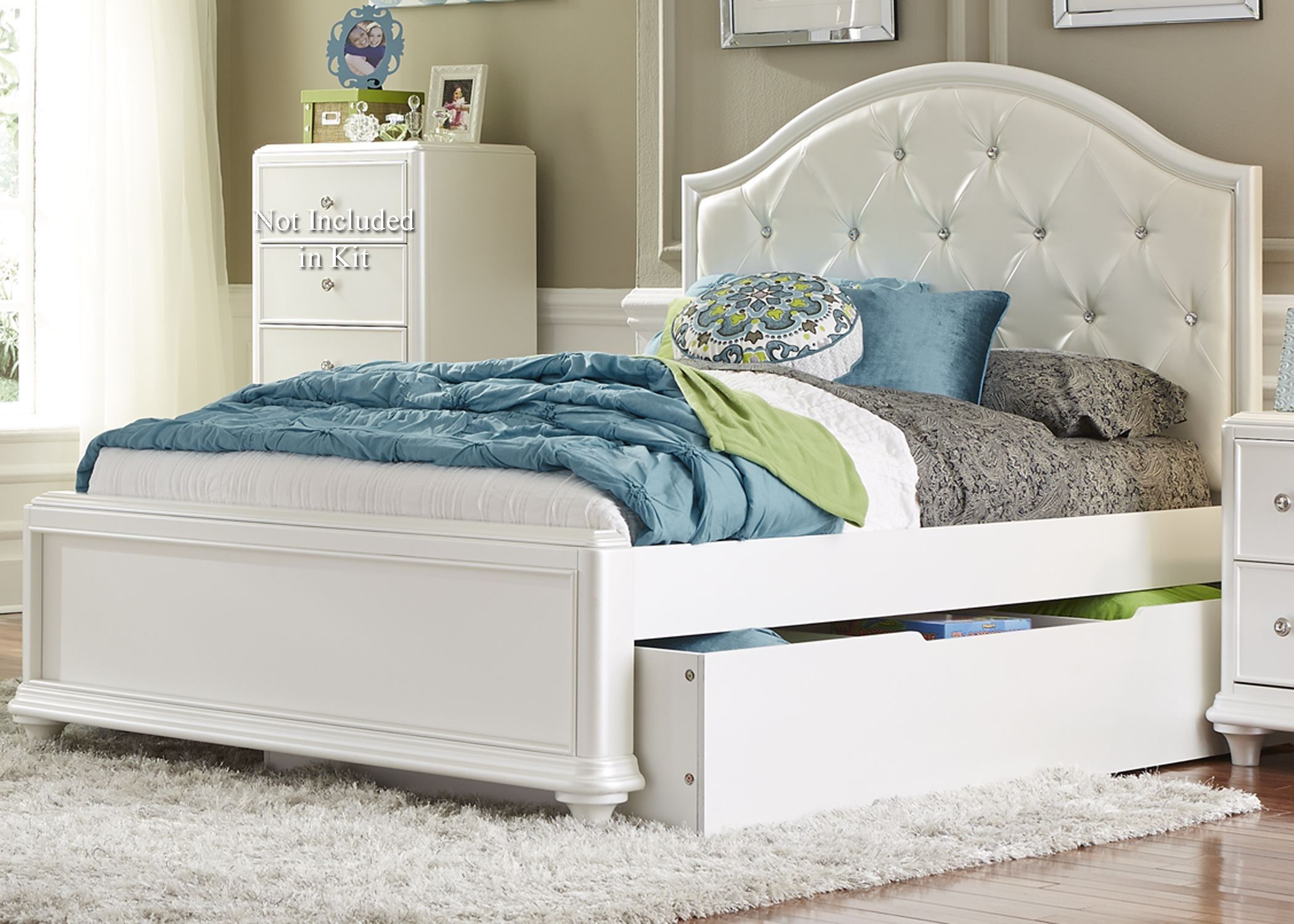 Stardust Iridescent White Youth Panel Trundle Bedroom Set | Princess ...