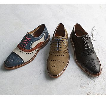 2dde1d25b31c57 Johnston & Murphy: McGAVOCK CAP TOE - Navy Leather/White & Red Suede ...