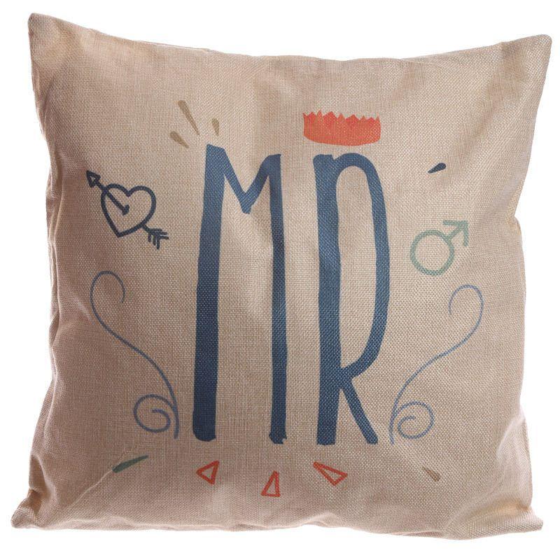 Cushion with Insert Mr or Mrs 43cm x 43cm Home Decor, Wedding Gift, Valentine
