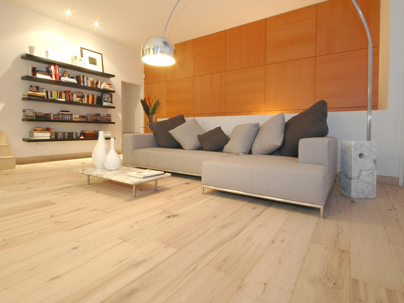 DuChateau Floors Chateau White Oiled Plank Flooring In Living Space.