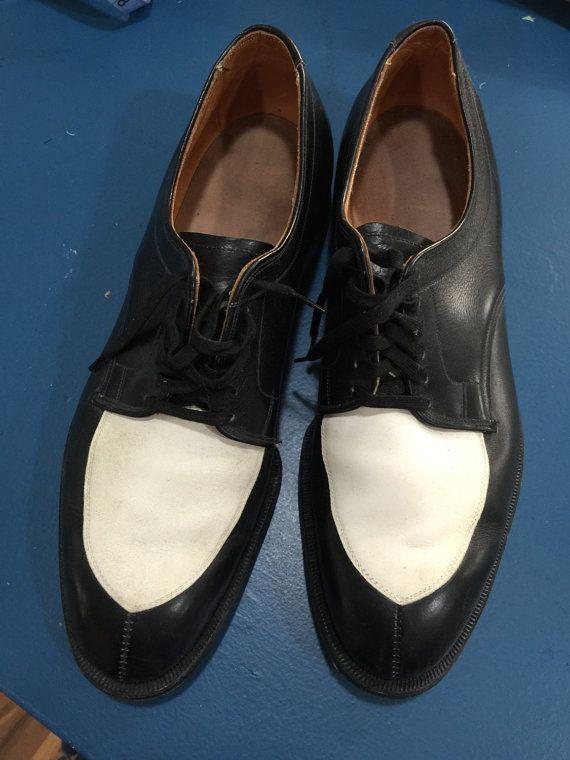 1950s Men 39 S Allen Edmond 39 S Vintage Black White Oxford Dress Shoes Rockabilly Rat Pack Black White Oxfords White Dress Shoes Oxford Dress Shoes