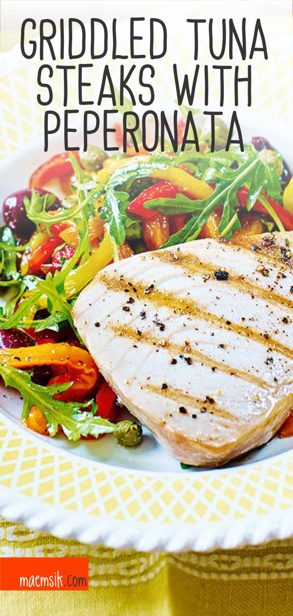Griddled Tuna Steaks With Peperonata Recipe Healthy Tuna Recipes Tuna Steak Recipes Tuna Steaks