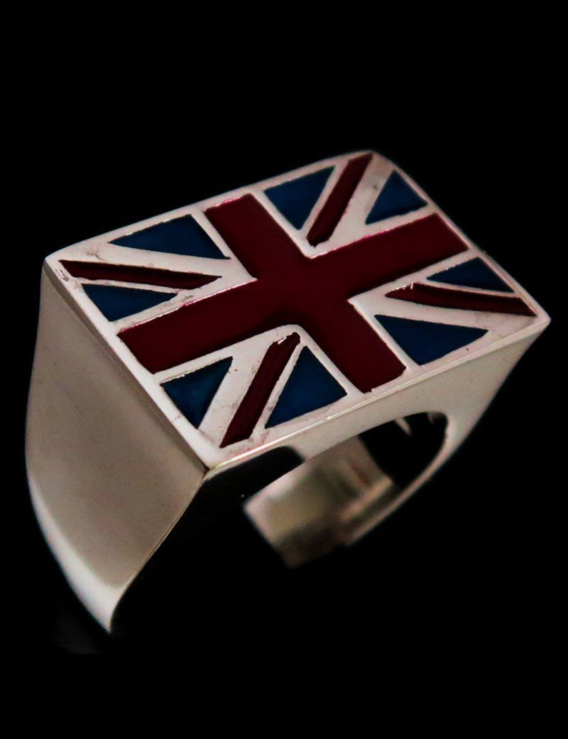 Sterling Silver Flag Ring Union Jack Uk England With Red And Blue Enamel 925 Silver Men S Ring In 2020 Mens Silver Rings Silver Man Sterling Silver Mens