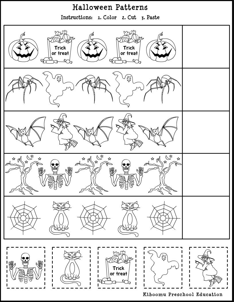 patterns math worksheet for kids it a halloween patterns worksheet - Halloween Printable Crafts For Kids 2