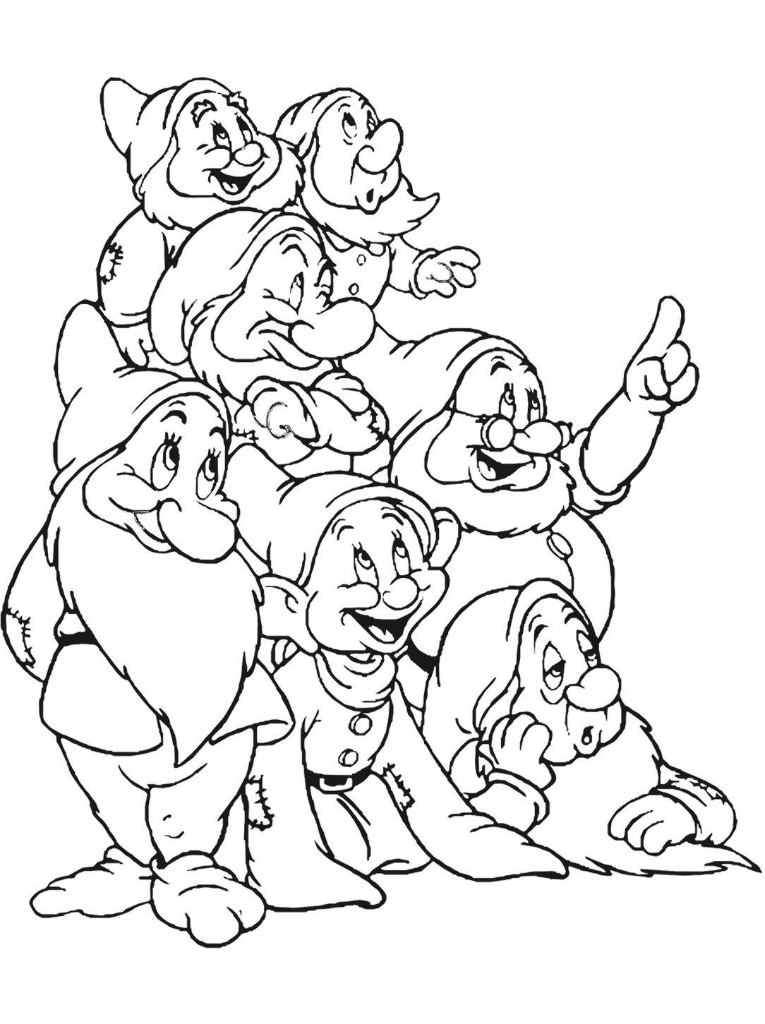 10 Coloriage 10 Nains Gratuit Beau  Snow white coloring pages