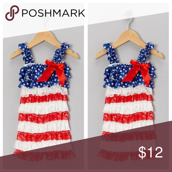 af13b7037392 Stars   Stripes Lace Romper 4th of July with our adorable patriotic satin  and lace petti