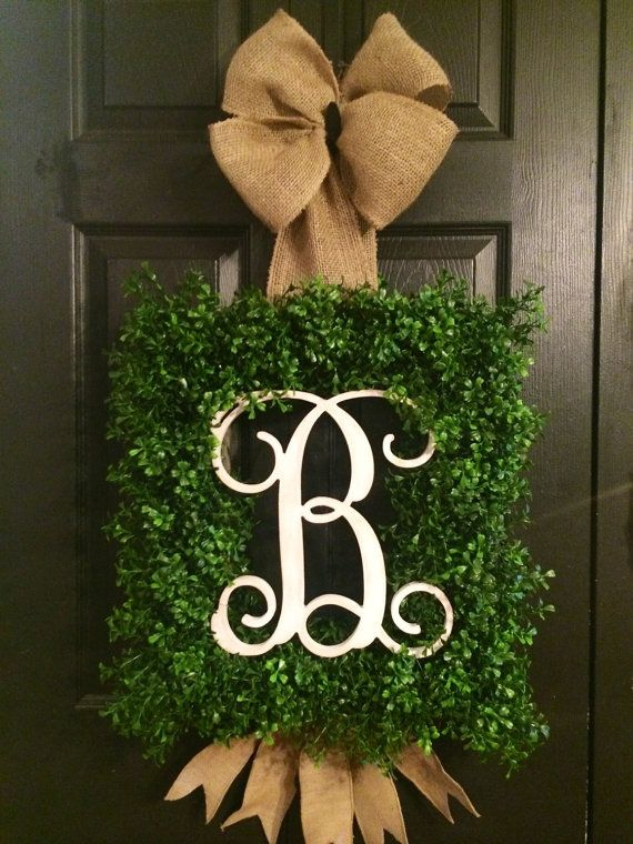 Captivating Square Boxwood Monogram Wreath. Front Door ...