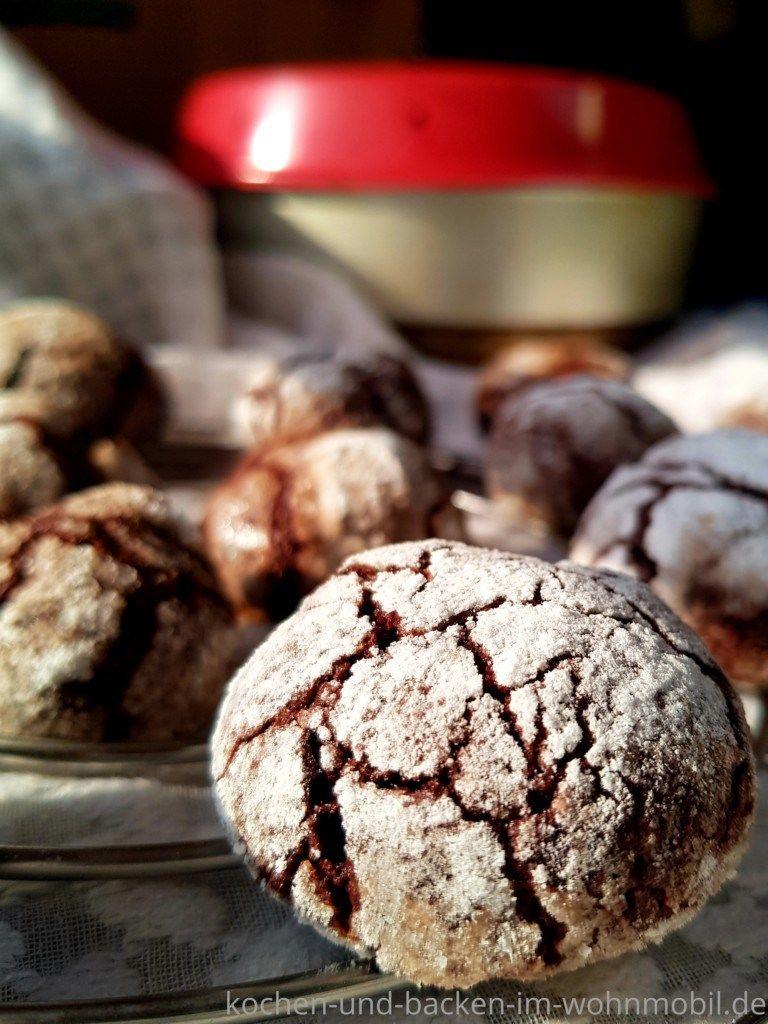 Kekse Backen Im Omnia Camping Backofen Schokoladen Crinkle Cookies Kochen Und Backen Lebensmittel Essen Und Crinkle Cookies