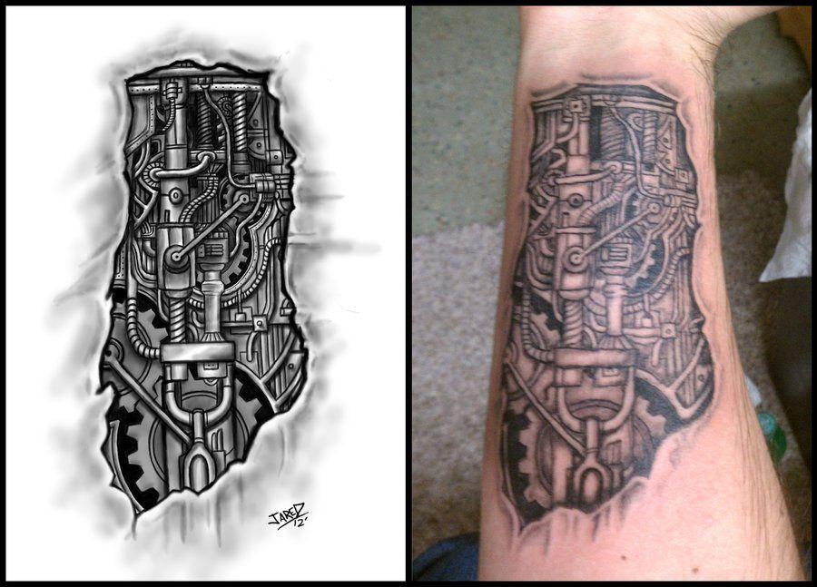 Gear Tattoo Designs | Biomechanical Forearm Tattoo by Jared1481 ...