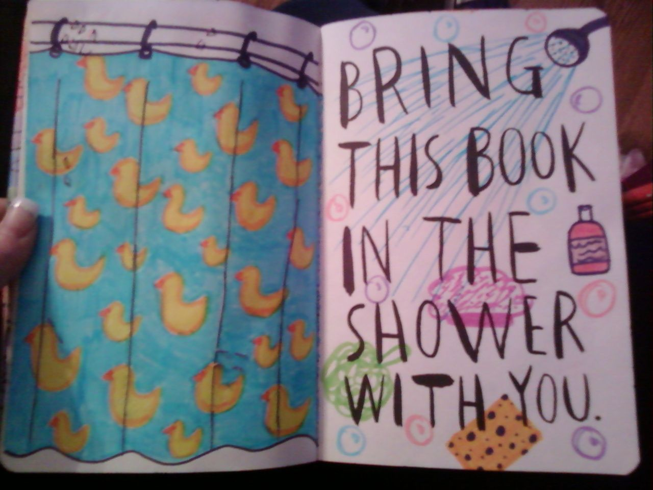 I Will Wreck This Journal Make A Shower Curtain Over The Page