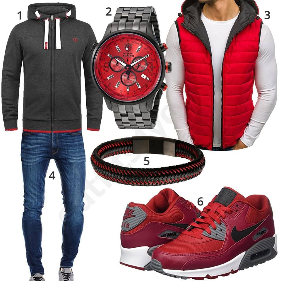 schwarz roter herren style mit hoodie und weste nike air pinterest m nner m nner outfit. Black Bedroom Furniture Sets. Home Design Ideas