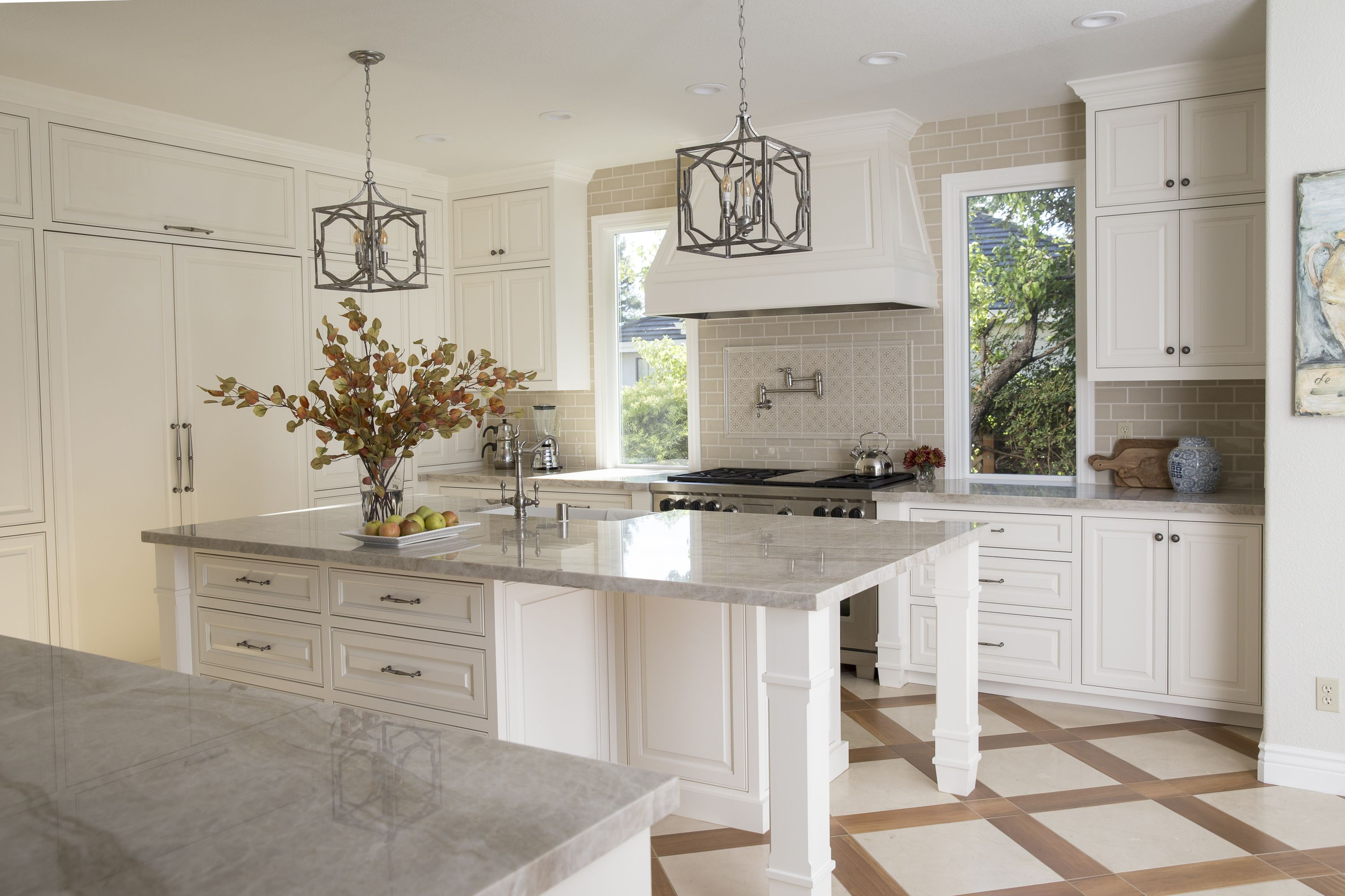 Kitchen Remodel White Cabinets Inlaid Marble Floors Design By Nicole Duttera Of Revival Market Kitchen Remodel Floor Design Kitchen Flooring