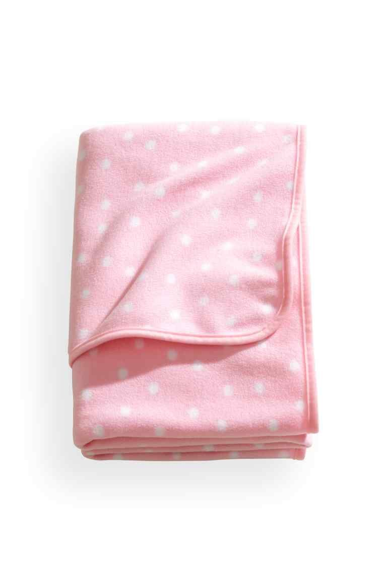 Fleece plaid roze met witte stippen uac hum home home