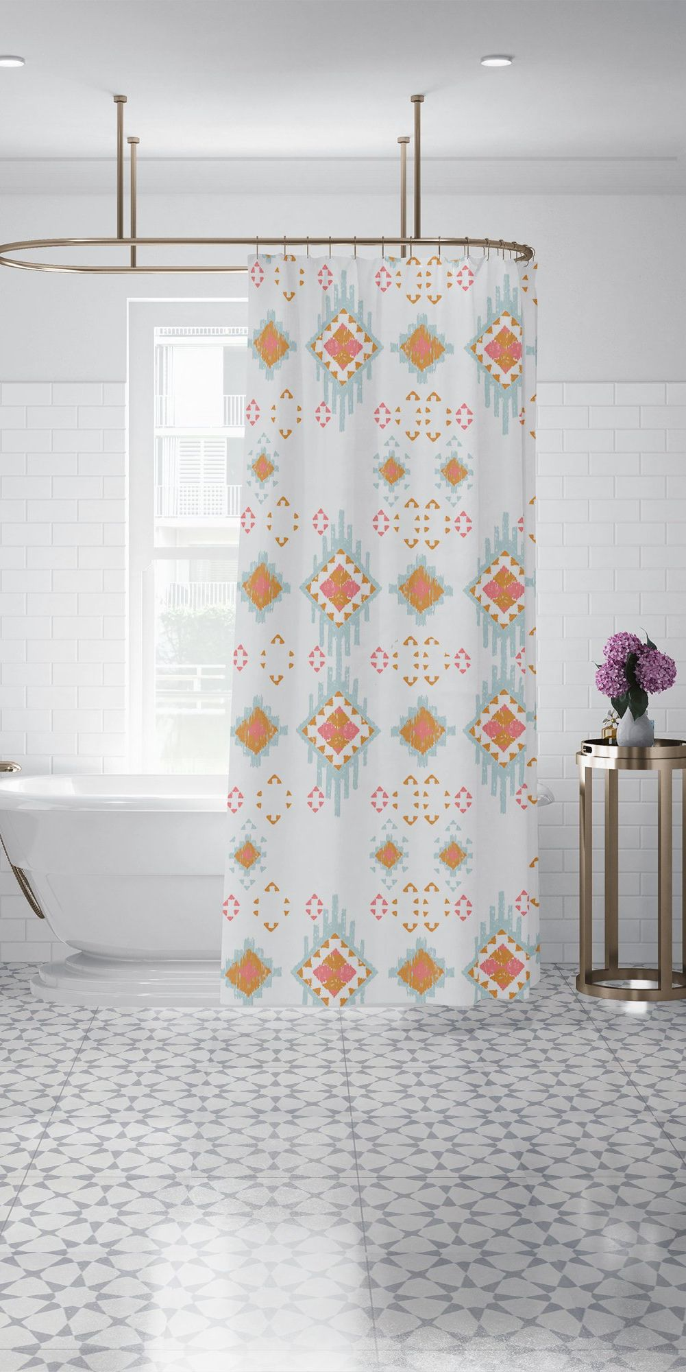 Bohemian Ikat Copper Pink Blue Shower Curtain Geometric Triangle Fabric Bathroom Curtain 70x70 83x70 90x70 Custom Shower Curtains Blue Shower Curtains Custom Shower