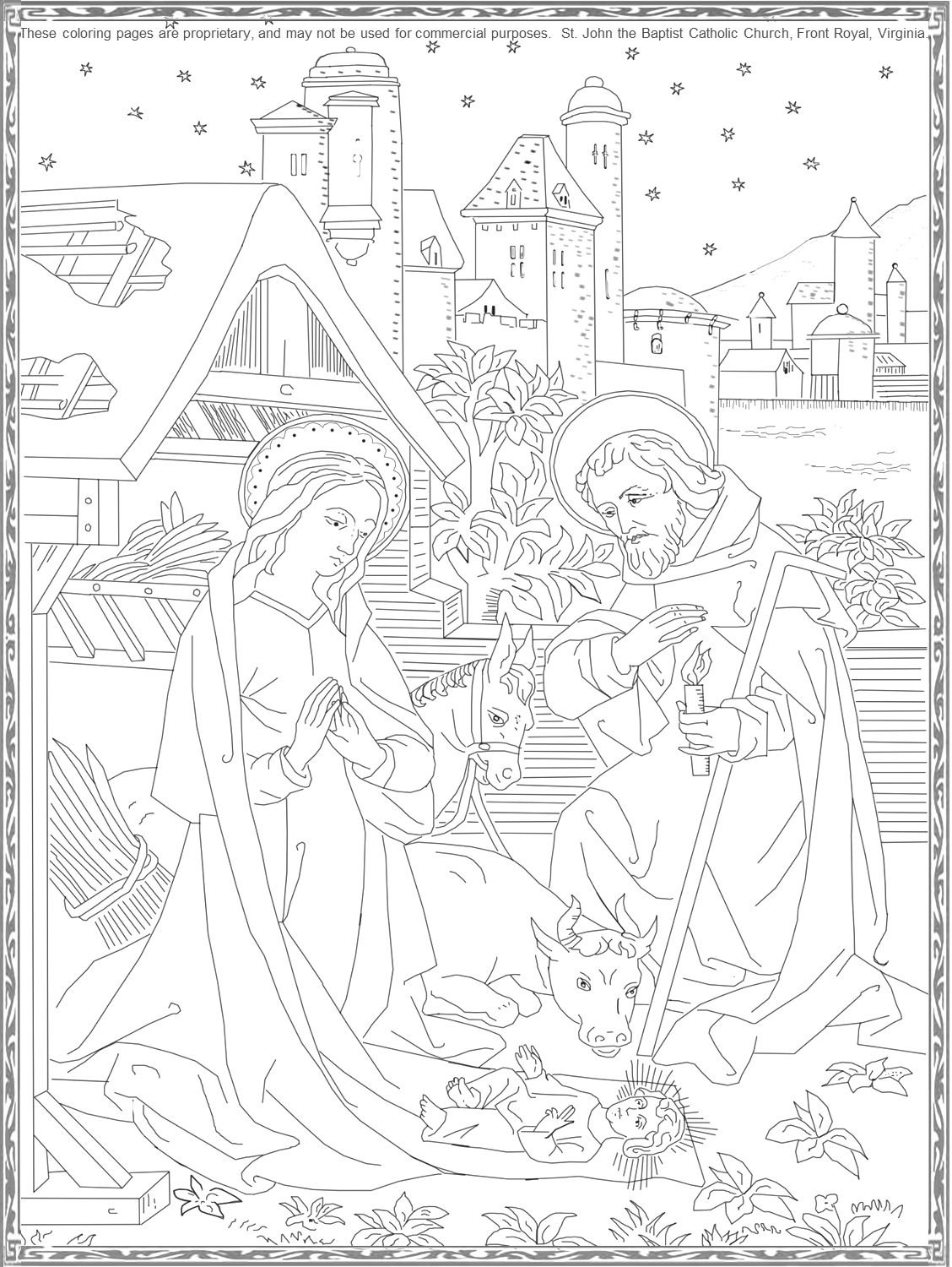 The Birth Of Our Lord Coloring Page The Nativity Coloring