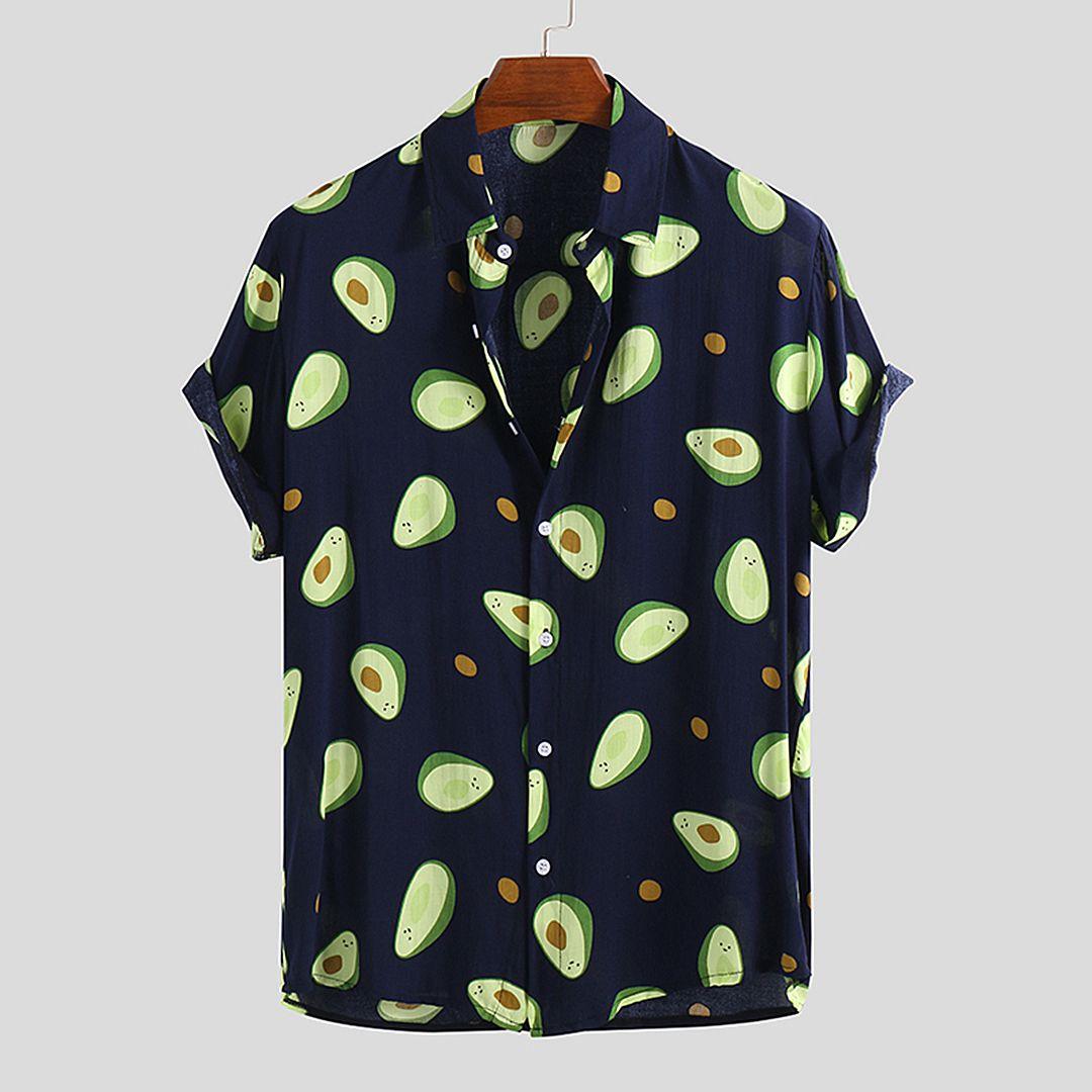 16 23 Camisas Casuales Impresas Divertidas De Aguacate Para Hombre Casual Shirts Cotton Shirts For Men Loose Casual Shirt