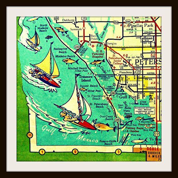 St Pete Florida Map.Unique St Petersburg Fl Map Art Print Mid Century Modern Art