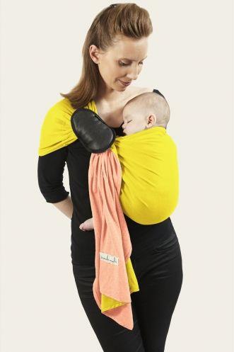 cdb1a43df4f3 Petite Echarpe Sans Noeud - Pêche, Jaune Lumineux (reversible)   JPMBB ®   Porte  bébé sling