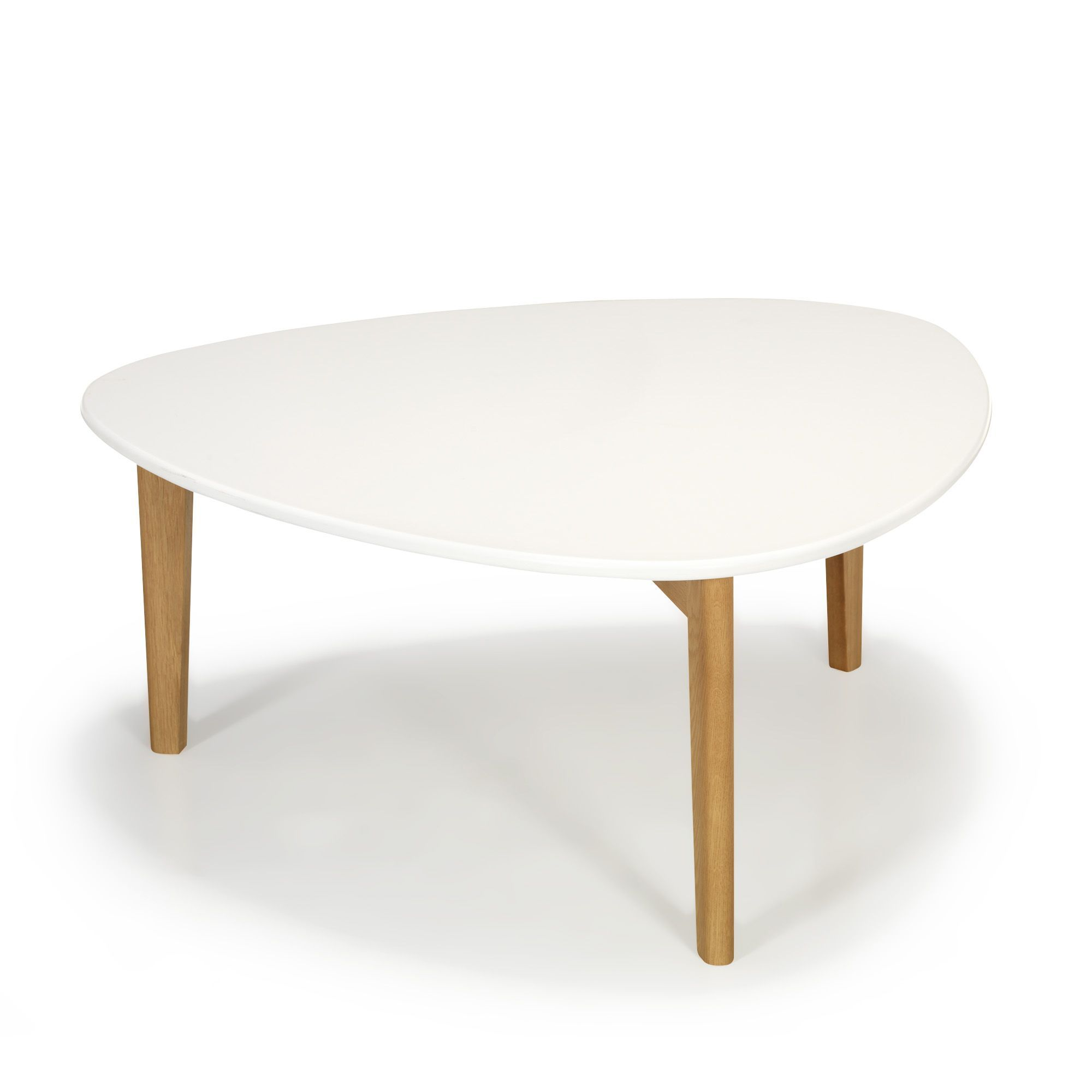Good Table Basse Ronde Alinea #3: Table Basse Vintage Scandinave Blanche 80cm Blanc Et Naturel - Siwa - Les  Tables Basses -