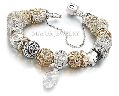 pandora charm bracelet silver and gold