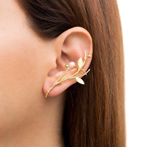 Elf ear cuff earring gold ear climber earring hypoallergenic