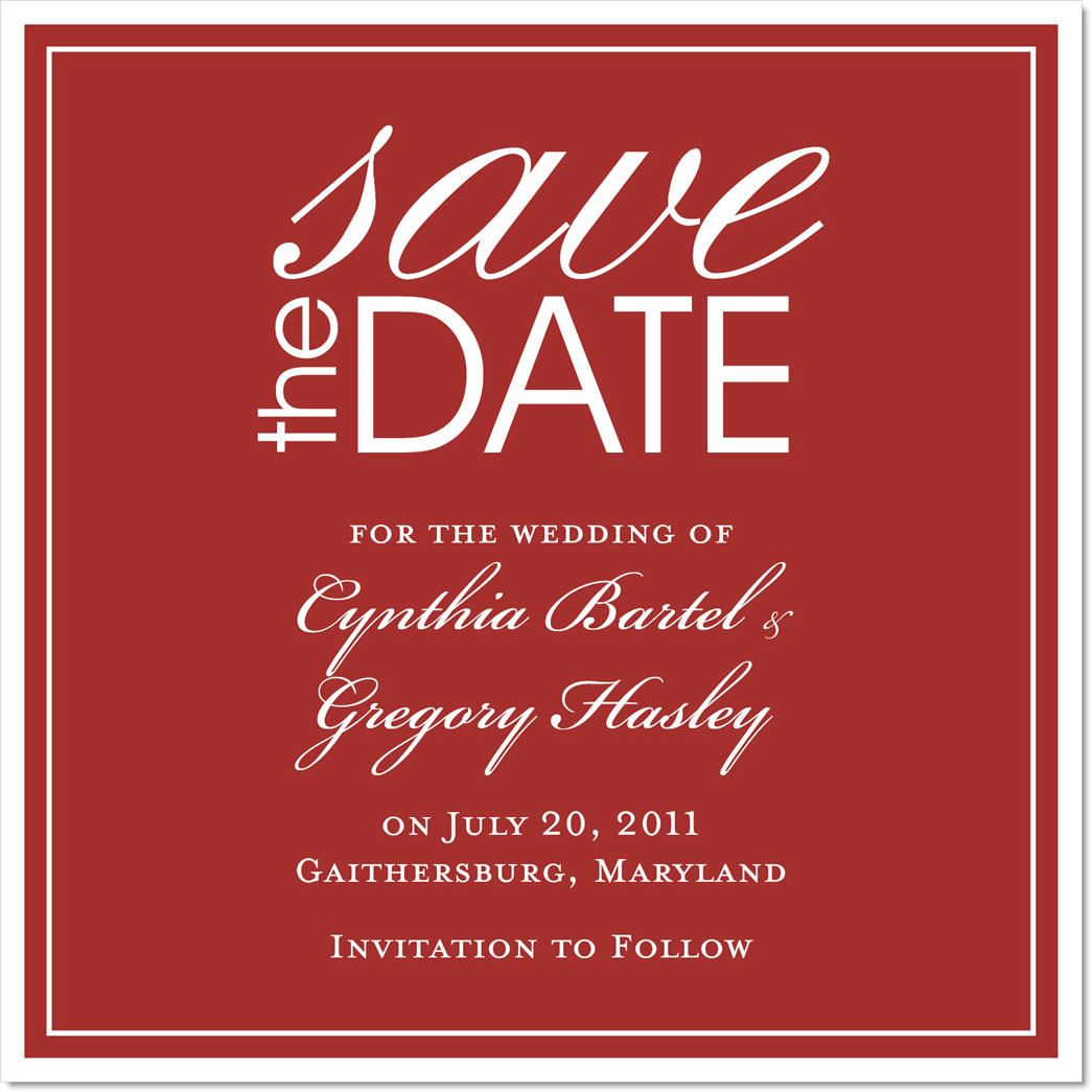 Bells Will Ring Red Save the Date Cards on Shimmer Stock by IB ...