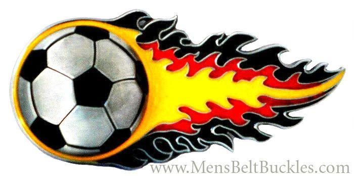Flaming Soccer Ball Belt Buckle