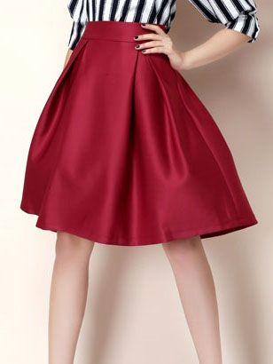 0b440da1b6 Falda cintura alta con vuelo -roja-Spanish SheIn(Sheinside)
