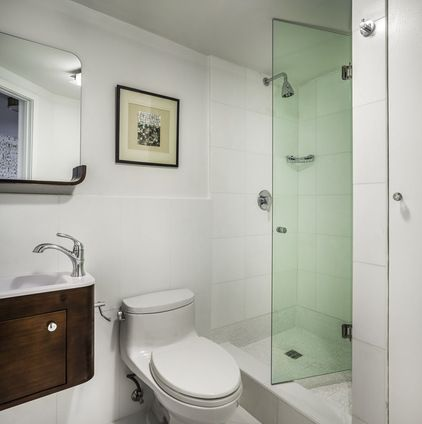 Small Bath With Bi Fold Glass Shower Door Tiny Bathrooms Bathroom Design Bifold Glass Shower Door
