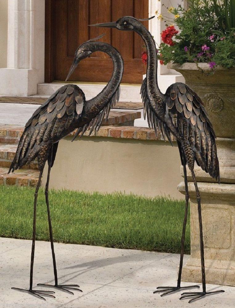 Bronze Heron Pair Coastal Metal Garden Statues Art Sculpture ...