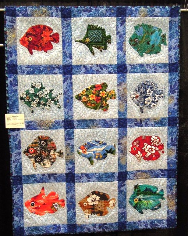 QUILT BLOCKS-SET EMBROIDERED HAWAIIAN STYLE SQUARES