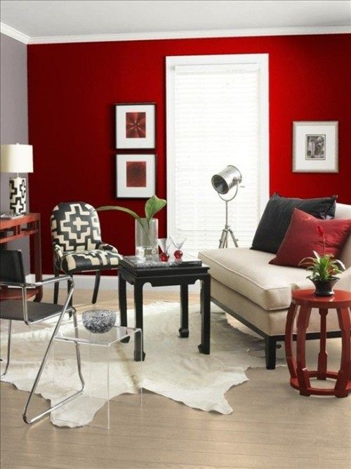 Sala rojo blanco y negro decoraciones pinterest for Decoracion de interiores color rojo