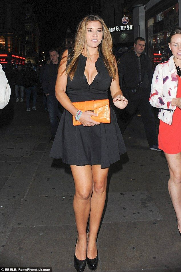 Imogen Thomas flaunts both her impressive bust and shapely legs in a flirty LBD as she enjoys London night out | Daily Mail Online