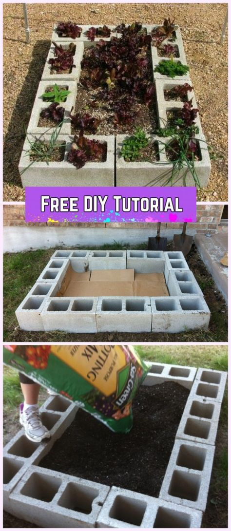 DIY Cinder Block Raised Garden Bed Tutorial is part of garden Decoration Tutorials - DIY Cinder Block Raised Garden Bed Tutorial Cinder Block Gardening, Concrete Block garden design