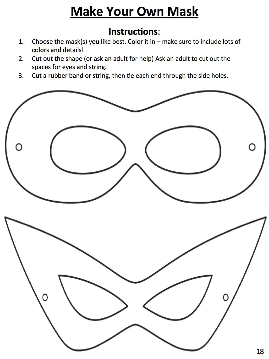 Download this template to design your own superhero mask for Superhero mask template for kids