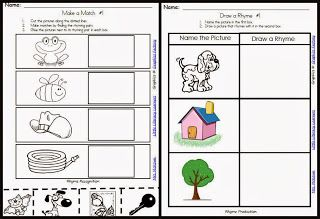Rhyming Activities Pack-activities for kids to use in small groups and independently!