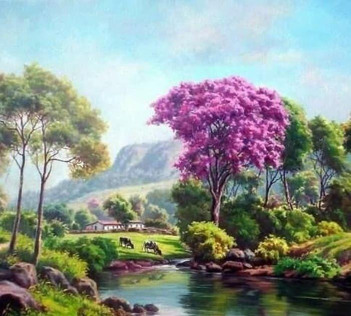 100 Gambar Pemandangan Alam Yang Indah Dan Mudah Ditiru Update Terbaru Bahwa Tempat Ini Sering Di In 2020 Landscape Painting Artists Landscape Art Landscape Paintings