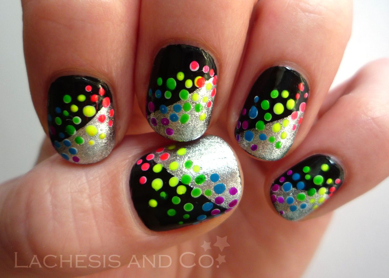 Neon rainbow dots on a black and silver background #rainbow #nails ...