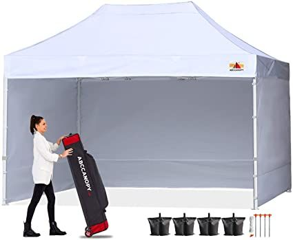 Amazon Com Abccanopy Canopy 10x15 Pop Up Commercial Canopy Tent With Side Walls Instant Shade Bonus Upgrade Roller Bag 4 In 2020 Commercial Canopy Canopy Tent Tent