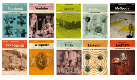 So clever...Social media rendered as vintage ads, posters and book covers.