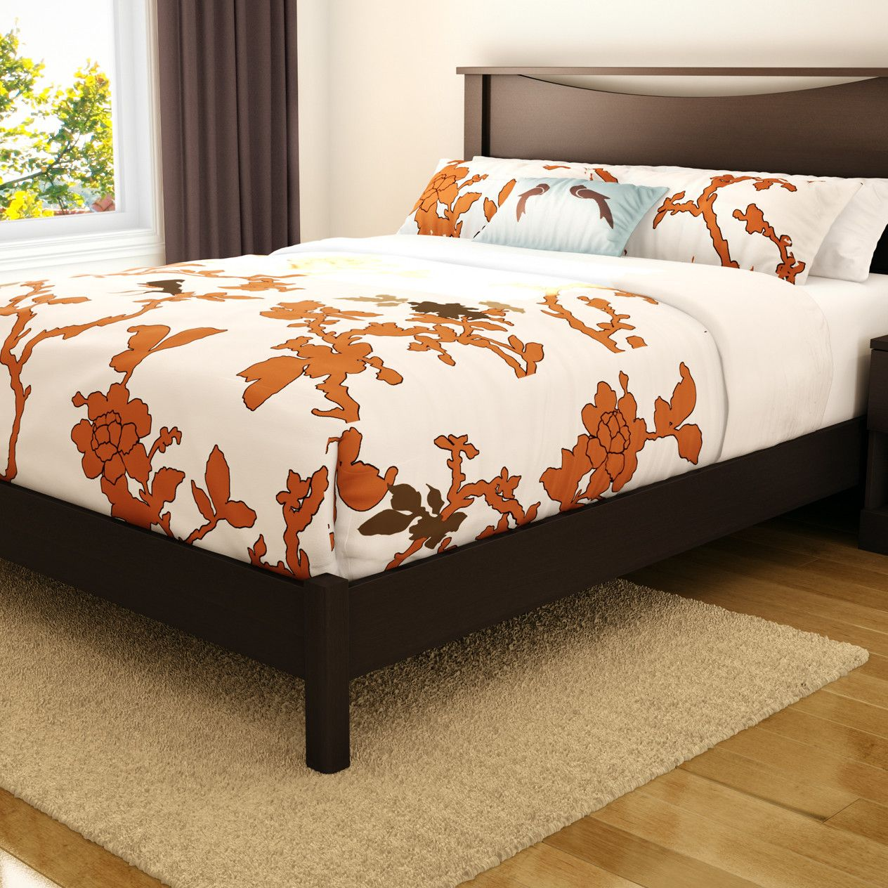 Platform Bed Frame love the rug position Platform bed