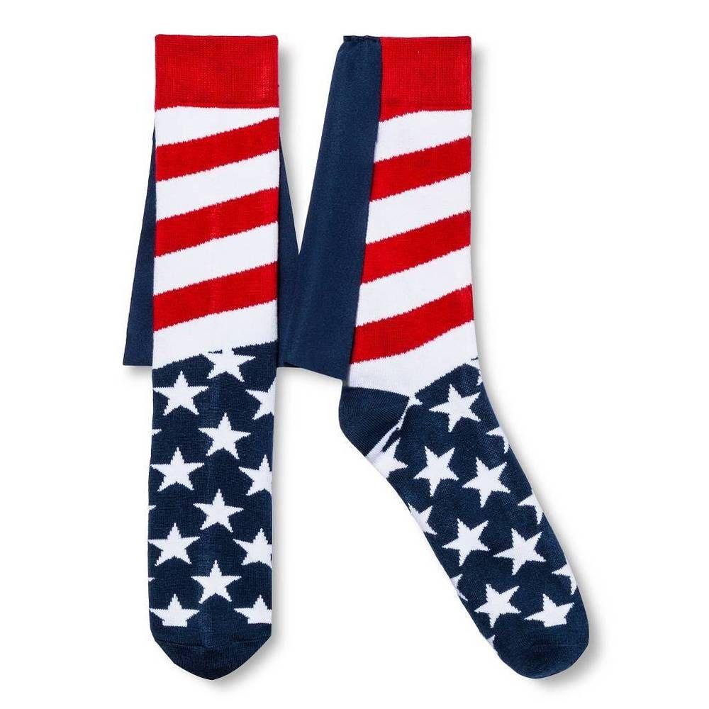 American Flag Cape Socks 10-13 Patriotic Crew Sock