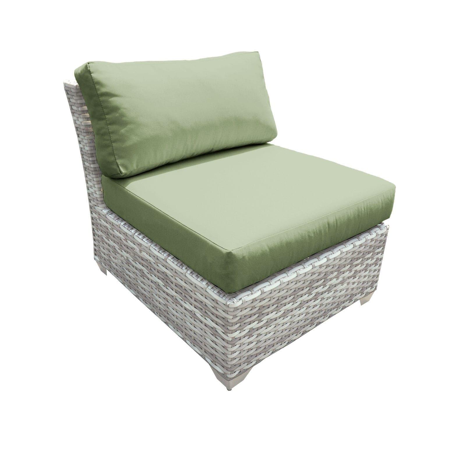 Catamaran Outdoor Patio Armless Wicker Sofa Segment (Set of 2) (Green), Size 2-Piece Sets, Patio Furniture (Acrylic)