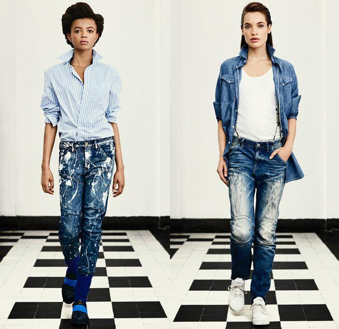 34160901bee7 G-Star RAW Amsterdam 2016 Spring Summer Womens Lookbook - Raw Dry Vintage  Selvedge Denim Jeans Cargo Pockets Outerwear Coat Parka Onesie Jumpsuit  Coveralls ...