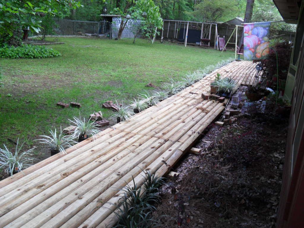 Use landscape timbers to make walkway welcome to my for Walkway landscaping